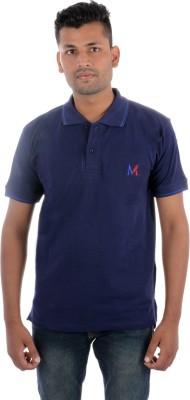 Moladz Solid Men's Polo Dark Blue T-Shirt