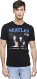Beatles Printed Men's Round Neck Black T...