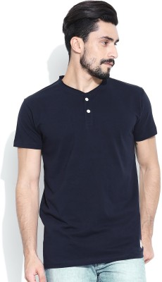 Hubberholme Solid Men's Henley Dark Blue T-Shirt