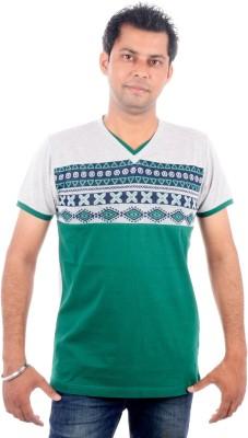 All Ruggby Printed Men's V-neck Grey T-Shirt