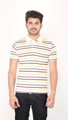 Planet 69 Striped Men's Polo Neck Yellow, Maroon, Grey T-Shirt