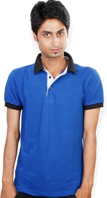 Evermore Stores Solid Men's Polo Neck Blue, Black T-Shirt