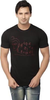 Hattha Printed Men's Round Neck Black T-Shirt