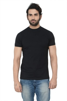 Karnik Couture Solid Men's Round Neck Black T-Shirt