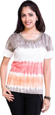 TVENO Printed Women's Round Neck Orange T-Shirt