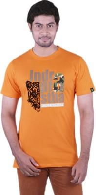 Bib & Tucker Printed Men,s Round Neck Orange T-Shirt