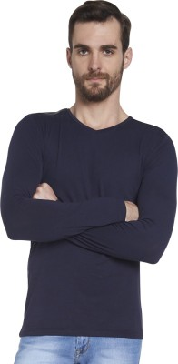 Globus Solid Men's V-neck Blue T-Shirt