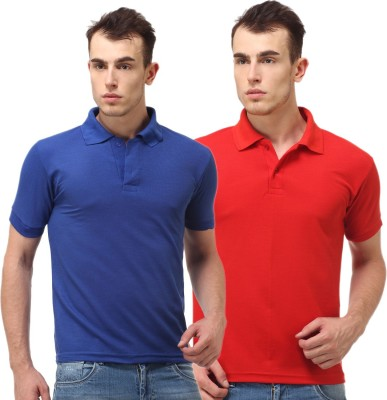 Lime Solid Men's Polo Neck Blue, Red T-Shirt