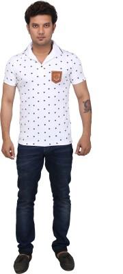 AFLASH Printed Men's Polo White T-Shirt