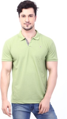 Rugby Solid Men's Polo Neck Light Green T-Shirt