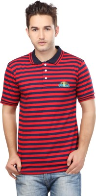 Free Spirit Striped Men's Polo Blue, Red T-Shirt