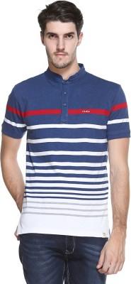 OCTAVE Striped Men's Mandarin Collar Blue T-Shirt