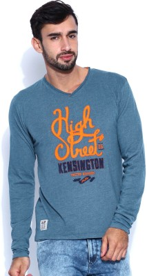Jn Joy Printed Men,s V-neck Blue T-Shirt
