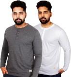 Arcanumz Solid Men's Henley Grey T-Shirt...