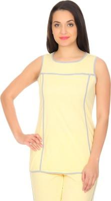 Rute Solid Women's Round Neck Yellow, Grey T-Shirt