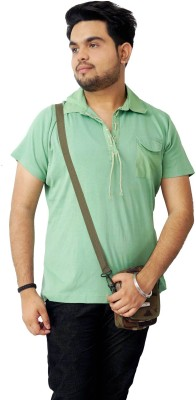 Parv Collections Solid Men's Flap Collar Neck Green T-Shirt