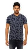 Spykar Printed Men's V-neck Blue T-Shirt