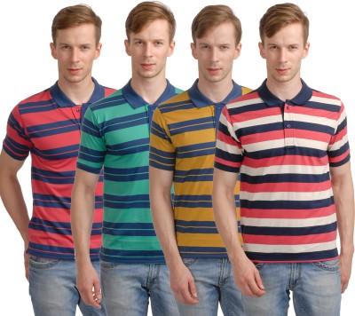 Superjoy Striped Men's Polo Neck Red, Green, Brown, Pink T-Shirt