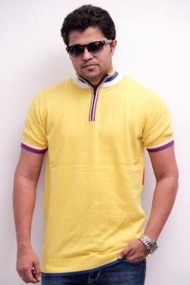 Globy Self Design Men's Polo Neck Yellow T-Shirt