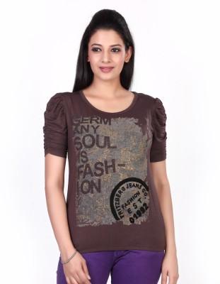 Fritzberg Printed Women's Round Neck Brown T-Shirt at flipkart