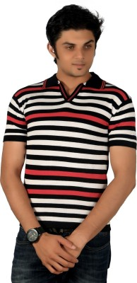 A33 Store Striped Men's Flap Collar Neck White, Red T-Shirt