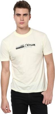 Okane Printed Men's Round Neck White T-Shirt