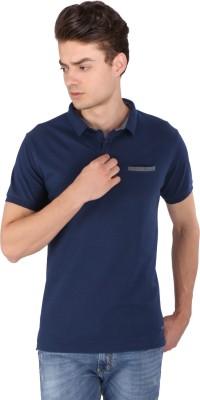 Caricature Solid Men's Polo Neck Blue T-Shirt