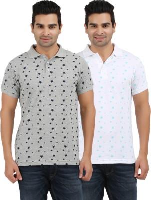 AG Printed Men's Polo Neck Grey, White T-Shirt