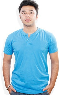 Evermore Stores Solid Men's Henley Blue T-Shirt