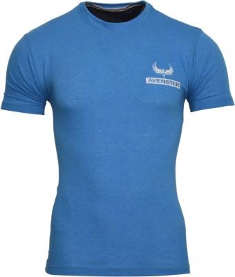 Avenster Solid Men's Round Neck Blue T-Shirt