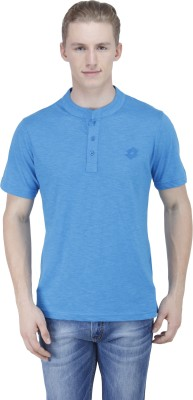 Lotto Solid Men's Henley Blue T-Shirt