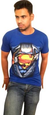 Vee-Raa Printed Men's Round Neck Blue T-Shirt