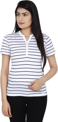 Zachi Striped Women's Round Neck White, Blue T-Shirt