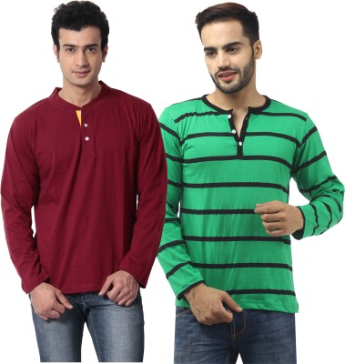 Leana Striped Men,s Henley Multicolor T-Shirt