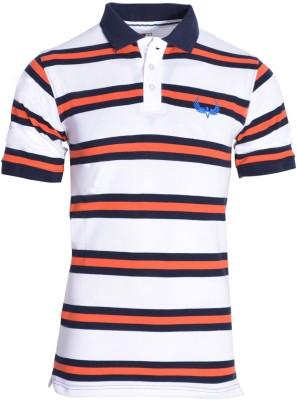 Avenster Sport Striped Men's Polo Neck White, Orange T-Shirt