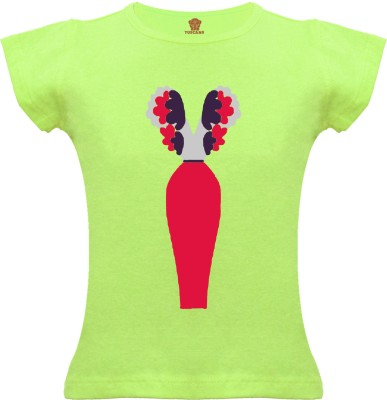 Tuscans Graphic Print Baby Girl's V-neck Light Green T-Shirt