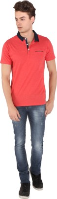 Caricature Solid Men's Polo Neck Red T-Shirt