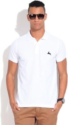 Deer Park Solid Men's Polo Neck White T-Shirt