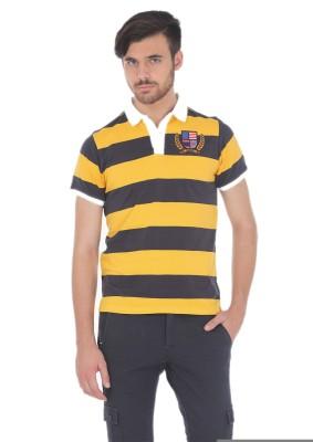 Basics Striped Men's Polo Neck Yellow T-Shirt