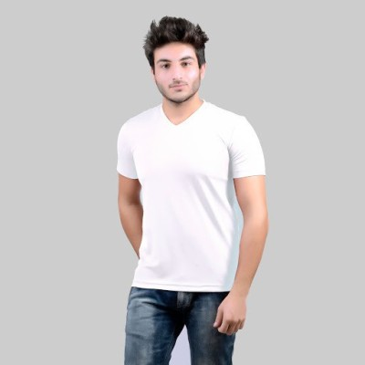 DS WORLD Solid Men's V-neck White T-Shirt