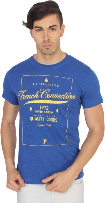 French Connection Printed Men's Round Neck Blue T-Shirt
