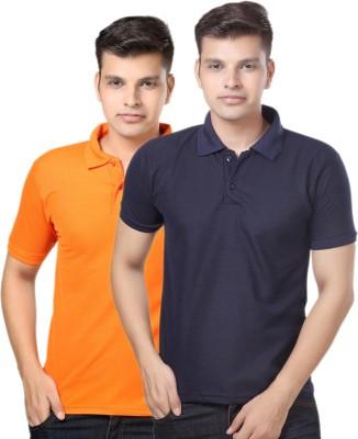 eSOUL Solid Men's Polo Neck Dark Blue, Orange T-Shirt