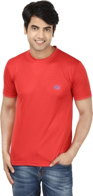 French Circle Solid Men's Round Neck Red T-Shirt