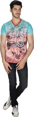 Grapes Plus Printed Men's V-neck Multicolor T-Shirt
