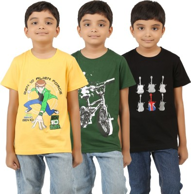 LEEDS Printed Boy's Round Neck Yellow, Black, Green T-Shirt