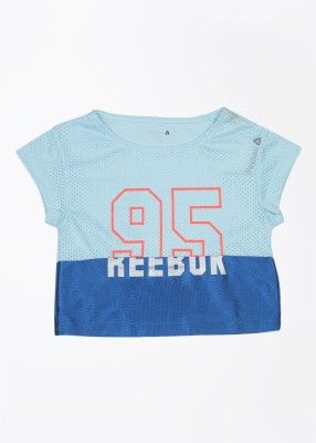 Reebok Self Design Girl's Round Neck Blue T-Shirt