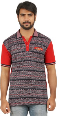 curviva Geometric Print Men's Polo Neck Red T-Shirt
