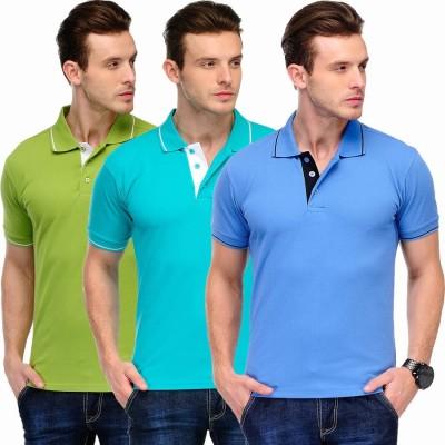 Scott International Solid Men's Polo Green, Light Blue, Blue T-Shirt