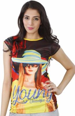 SKDC Graphic Print Girl's Halter Neck Yellow T-Shirt
