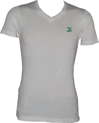 Tick Lish Solid Men's V-neck White T-Shirt
